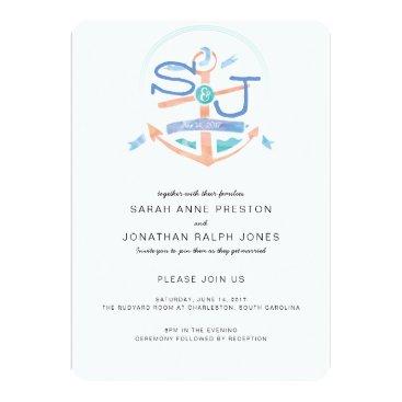Beach Themed Nautical Crest Wedding Invitation