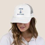 "Nautical Crew Boat Name Blue White Gold Trucker Hat<br><div class=""desc"">Nautical Crew Boat Name Trucker Hat - Blue,  White,  Gold</div>"