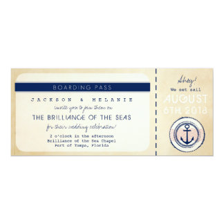 Nautical Cruise Ship Boarding Pass Wedding Invite