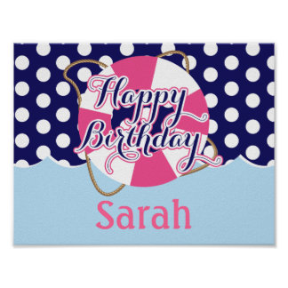Nautical, Custom Birthday Party Poster