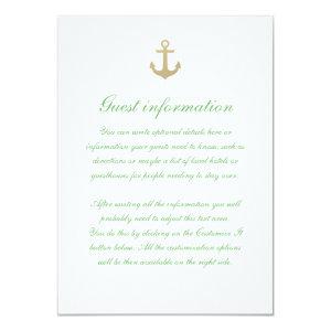 Nautical Custom Mint White Wedding Insert Card 4.5