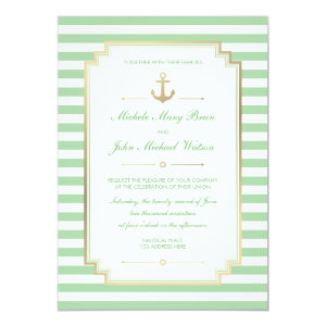 Nautical Custom Mint White Wedding Invitation