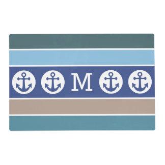Nautical custom monogram reversible placemat