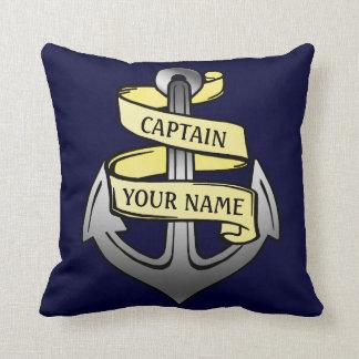 Nautical Custom Ship Captain Your Name Anchor Throw Pillow