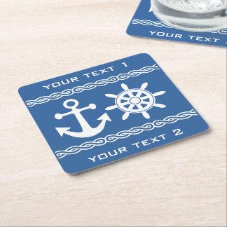 Nautical custom text & color coasters