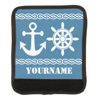 Nautical custom text & color luggage handle wrap