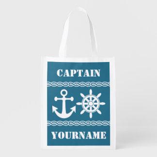 Nautical custom text & color reusable bag