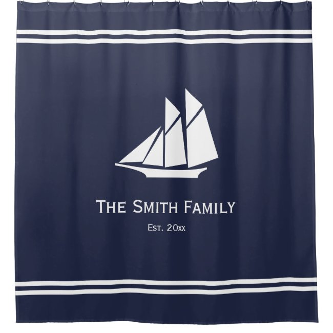 Nautical Custom Text on Midnight Blue and White Shower Curtain