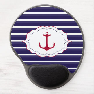 Nautical Dark Blue White Stripes Red Anchor Gel Mouse Pad