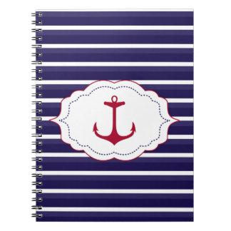 Nautical Dark Blue White Stripes Red Anchor Notebook