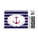Nautical Dark Blue White Stripes Red Anchor Postage