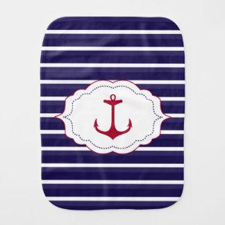 Nautical Dark Blue White Stripes Red Anchor Burp Cloth