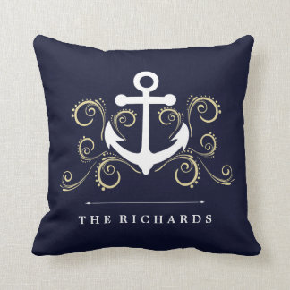 Nautical Dark Blue with Anchor and Gold Swirls Throw Pillow
