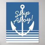 Nautical decor wall poster | Ship Ahoy navy anchor