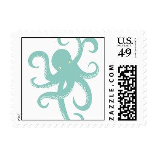 Nautical Deep Sea Octopus Creature Illustration Postage