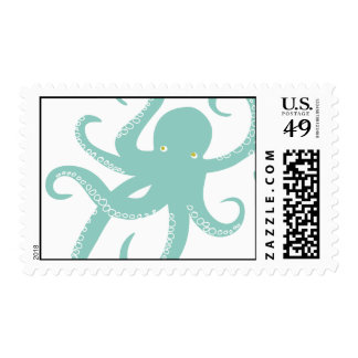 Nautical Deep Sea Octopus Creature Illustration Stamp