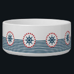 """Nautical design bowl<br><div class=""""desc"""">Nautical design with sailing wheel decoration in round shape on blue and white striped background</div>"""