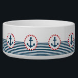 """Nautical design bowl<br><div class=""""desc"""">Nautical design with anchor decoration in round shape on blue and white striped background</div>"""