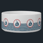 """Nautical design bowl<br><div class=""""desc"""">Nautical design with sailing boat decoration in round shape on blue and white striped background</div>"""