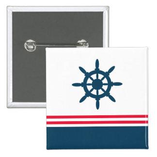 Nautical design pinback buttons
