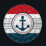 "Nautical design dartboard<br><div class=""desc"">Nautical design with anchor decoration in round shape on blue,  red,  grey and white striped background</div>"