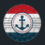 """Nautical design dartboard<br><div class=""""desc"""">Nautical design with anchor decoration in round shape on blue,  red,  grey and white striped background</div>"""