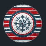 "Nautical design dartboard<br><div class=""desc"">Nautical design with compass decoration in round shape on red,  blue and white striped background</div>"