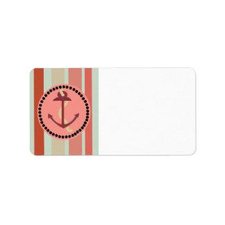 Nautical Design on Stripes Label