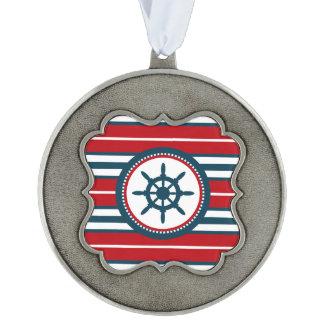 Nautical design pewter ornament