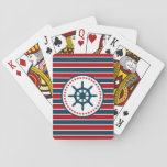 "Nautical design playing cards<br><div class=""desc"">Nautical design with sailing wheel decoration in round shape with stars on red,  blue and white striped background</div>"
