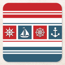 Nautical design square paper coaster