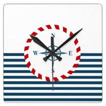 Nautical design square wall clock