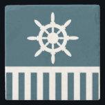 "Nautical design stone coaster<br><div class=""desc"">Nautical design with sailing wheel and blue and white stripes decoration on blue background</div>"