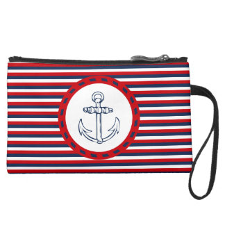 Nautical design suede wristlet wallet