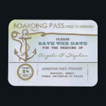 """nautical destination wedding save the date magnet<br><div class=""""desc"""">Vintage old save the date magnet - boarding pass ticket for nautical wedding in the sea,  ocean,  cruise or on the yacht near the the tropical island. Wonderful for beach weddings with sea foam colors scheme or anchor accents.</div>"""