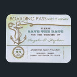 "nautical destination wedding save the date magnet<br><div class=""desc"">Vintage old save the date magnet - boarding pass ticket for nautical wedding in the sea,  ocean,  cruise or on the yacht near the the tropical island. Wonderful for beach weddings with sea foam colors scheme or anchor accents.</div>"
