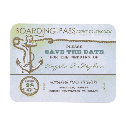 nautical destination wedding save the date magnet rectangular magnets