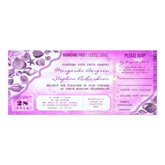 "nautical destination wedding tickets invitations 4"" x 9.25"" invitation card"
