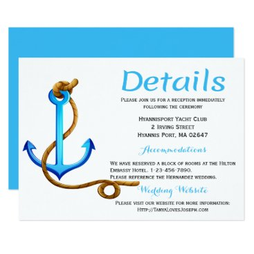 Beach Themed Nautical  Details Directions Turquoise Anchor Blue Card
