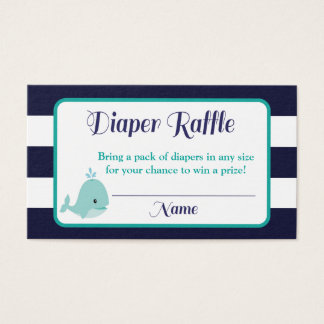 Nautical Diaper Raffle Inserts | Whale