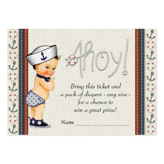 Nautical Diaper Raffle Tickets Large Business Cards (Pack Of 100)