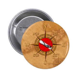 Nautical Dive Compass Button