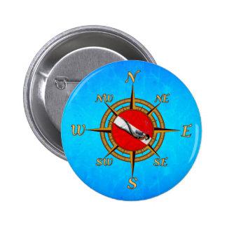 Nautical Dive Compass Pinback Buttons