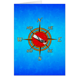 Nautical Dive Compass Greeting Cards