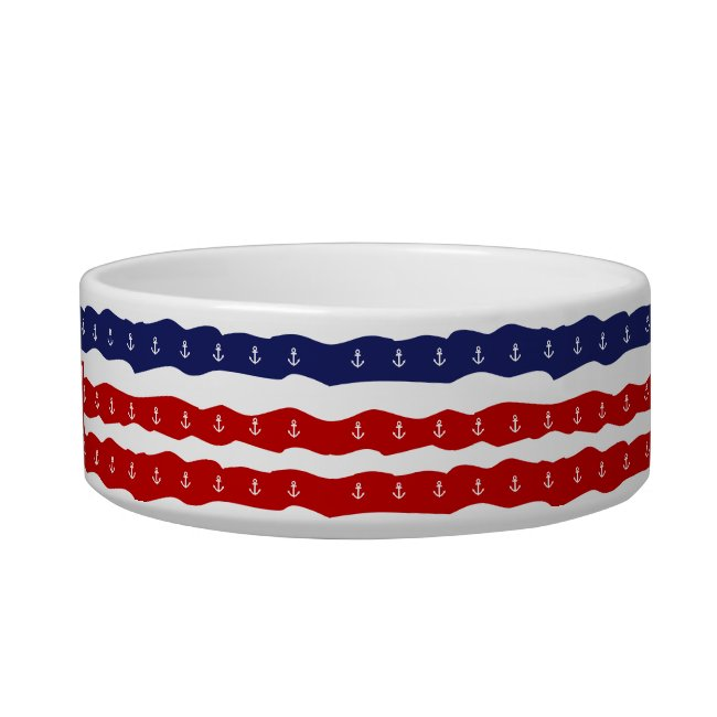 Nautical Dog Bowl Red White and Blue Anchors Waves