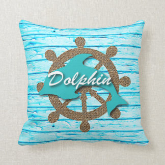 Nautical -  Dolphin On Teal Weathered Wood Throw Pillow