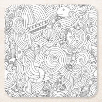 Nautical Doodle Square Paper Coaster