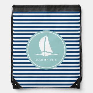 Nautical drawstring bag with sailing ship design
