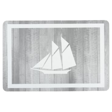 Nautical Elegant Gray Wood & White Sailboat Floor Mat