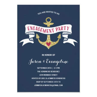 Nautical Engagement Party Card